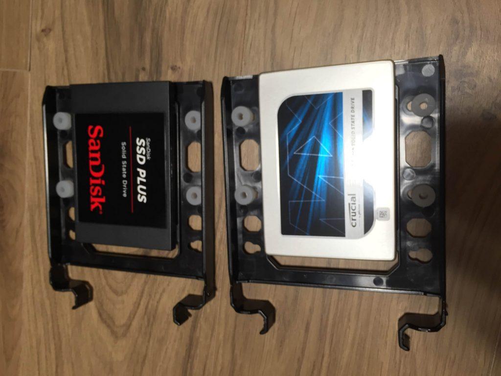 SSD(CT250MX200SSD1 250GBとSDSSDA-480G-J26C 480GB)