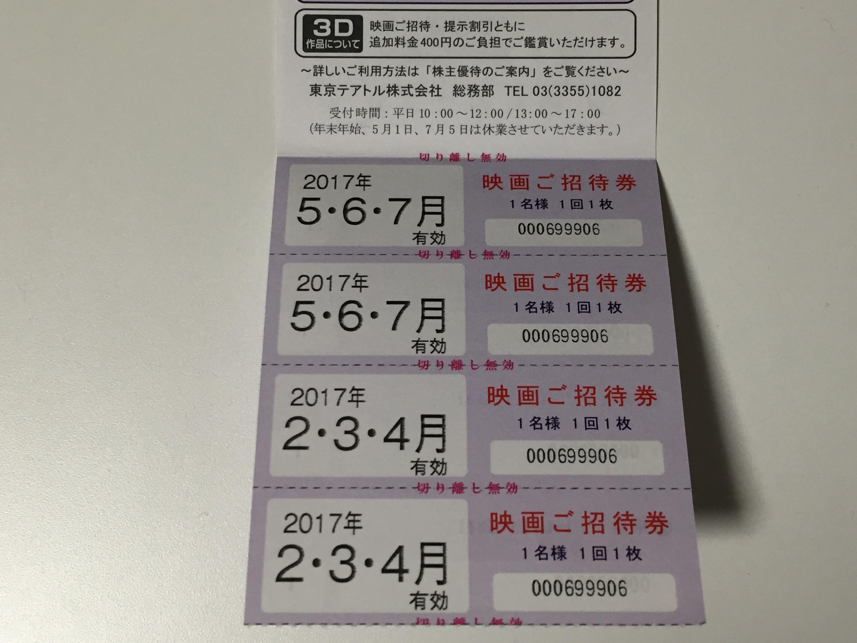 東京テアトル 株主優待 映画招待券