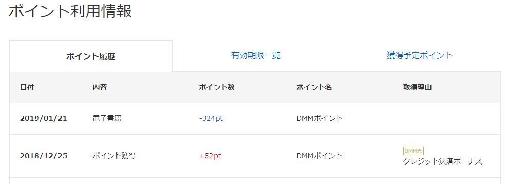 dmm ポイント 履歴